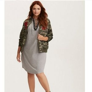 Torrid Grey Knit Lace Up Front Tee Dress